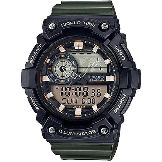 Ceas Barbati ILLUMINATOR WORLD TIME 5 ALARMS AEQ-200W-3AV